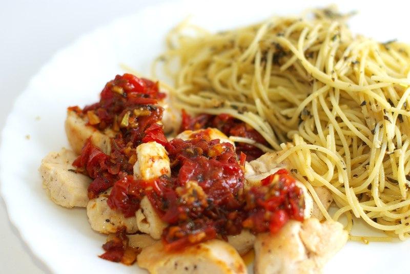 Рецепт спагетти с курицей